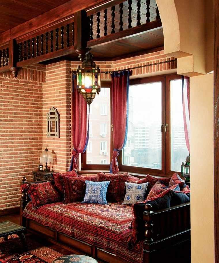 muebles rusticos madera ideas salon estampas marroqui