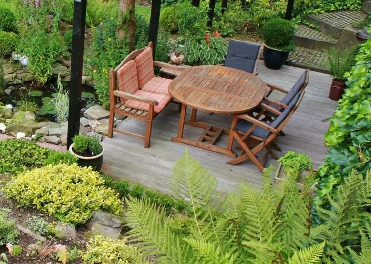 muebles teca jardin variedad plantas ideas moderno