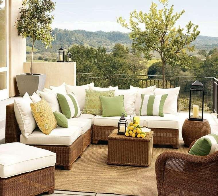 muebles terraza comodos blanco verde ideas geniales