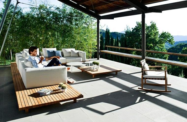 muebles terraza plataforma madera teca