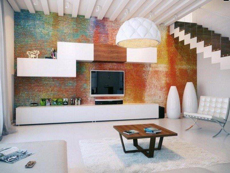 muebles tv pared ladrillos colores