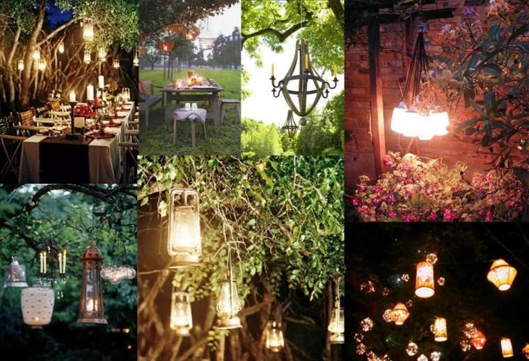 muestras colgantes lamparas noche iluminacion