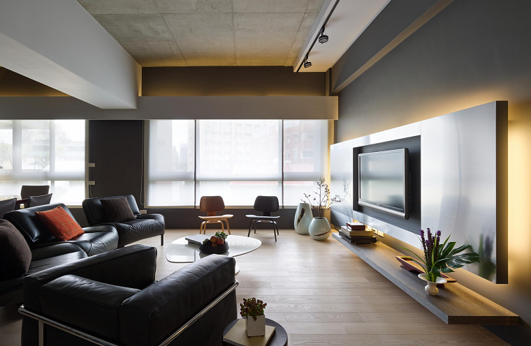 naturaleza muebles cuero negro comodos modernos