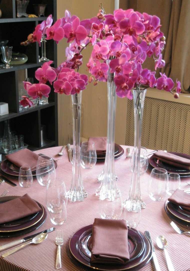 naturalismo tres jarrones cristal decorar mesa ideas