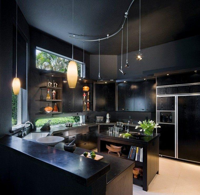 negro cocina luces muebles moderno