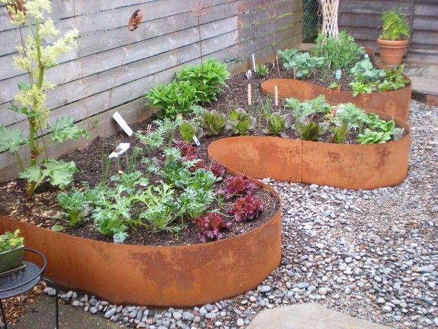 ondulado plantas grava jardin patio