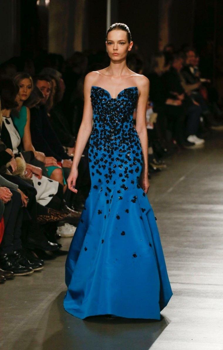 vestido oscar de la renta color azul