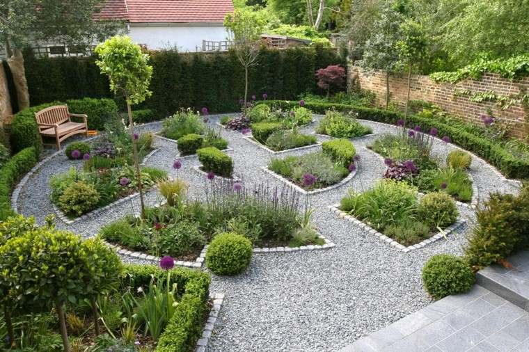 paisaje creativo grava plantas parque