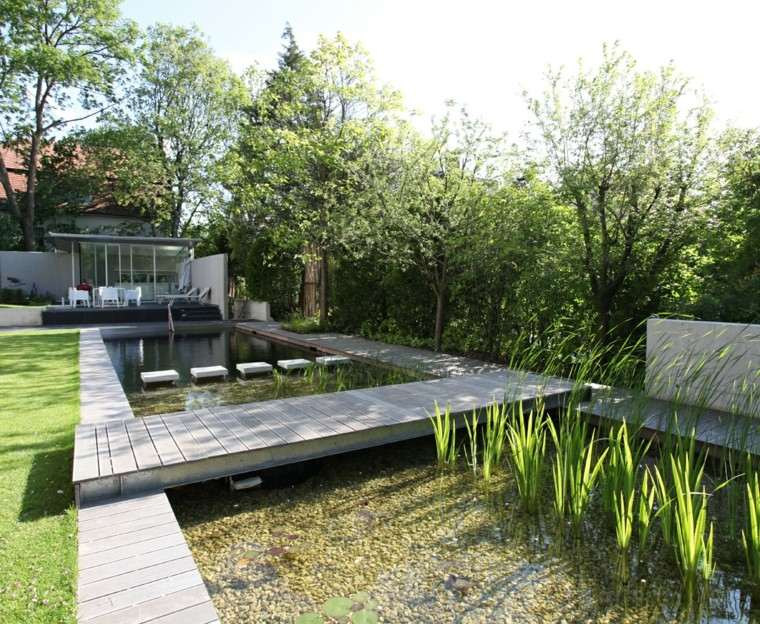 paisajes naturales estaque grande flores agua ideas moderno