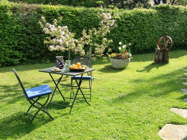 paisaje natural sillas mesa forja ideas jardin moderno acero
