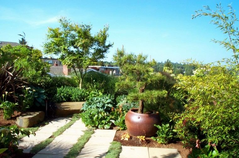paisajismo estilo zen jardin plantas