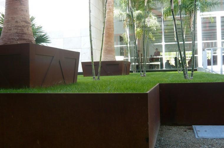 palmas bambu jardinera exterior acero - Jardineras Exterior