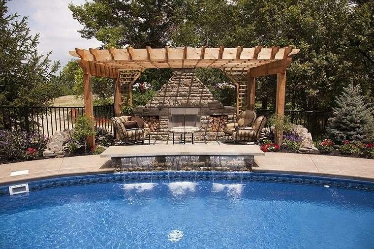 palmera piscina plantas decoracion cascada