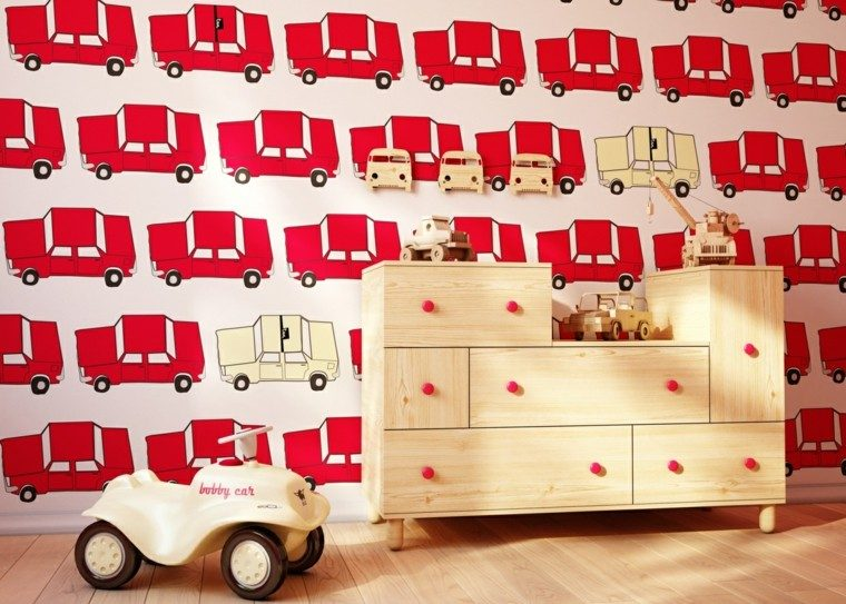 papel pared coches ideas originales coches rojos mueble madera