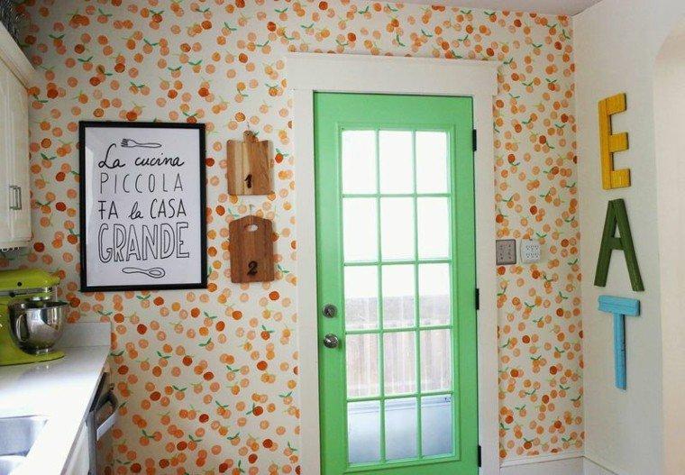 papel pared cocina naranjas pequeñas