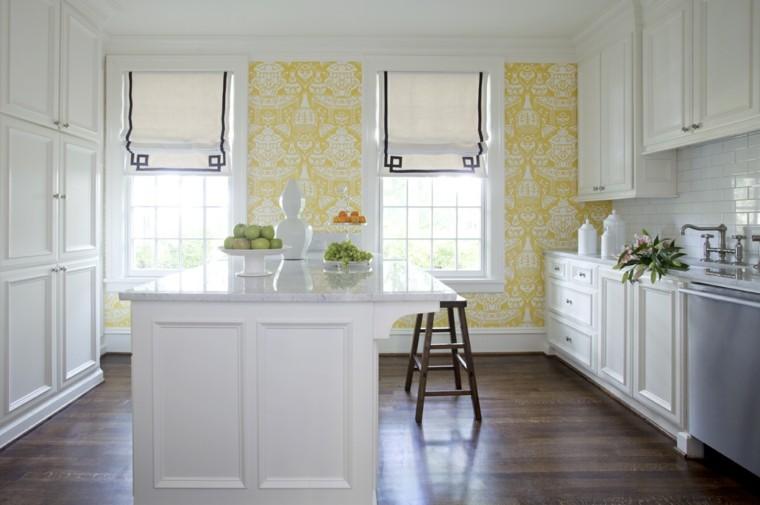 papeles pintados pared cocina amarilla