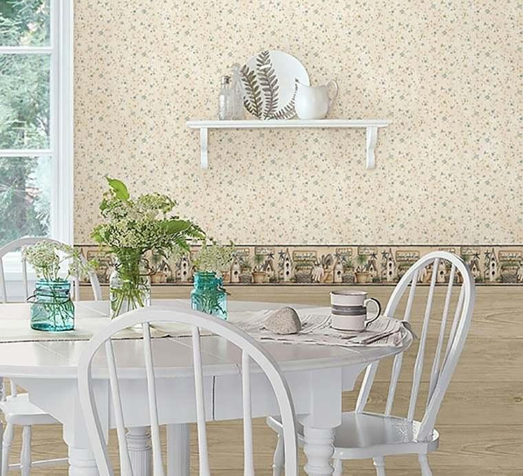 papeles pintados florecitas pared cocina