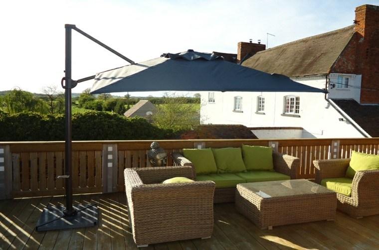parasol color azul terraza