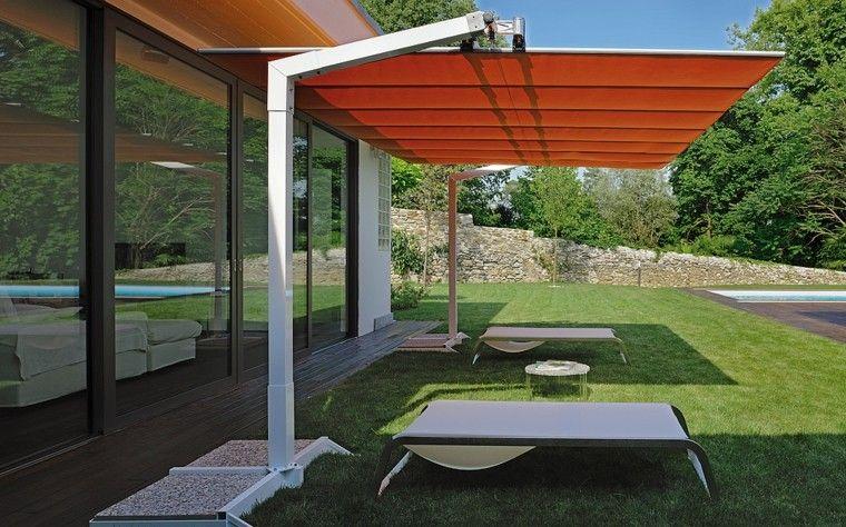 parasol naranja toldo rectangular