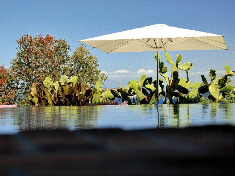 parasol terraza piscina plantas