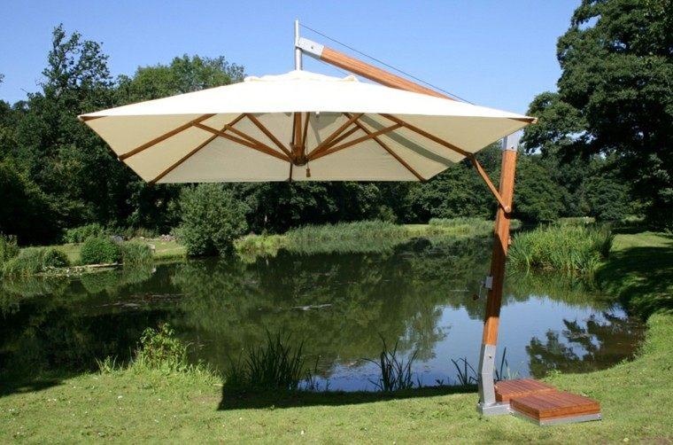 parasol moderno base madera