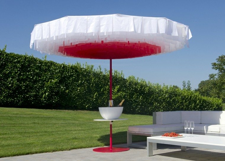 parasol original seta blanco rojo