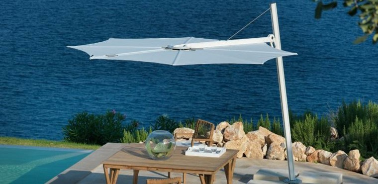 parasol jardin patio plano blanco