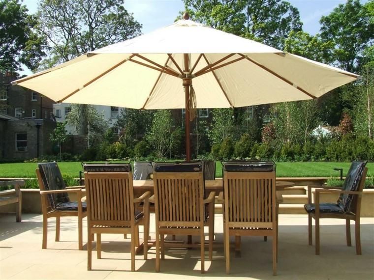 parasoles jardin muebles comedor terraza