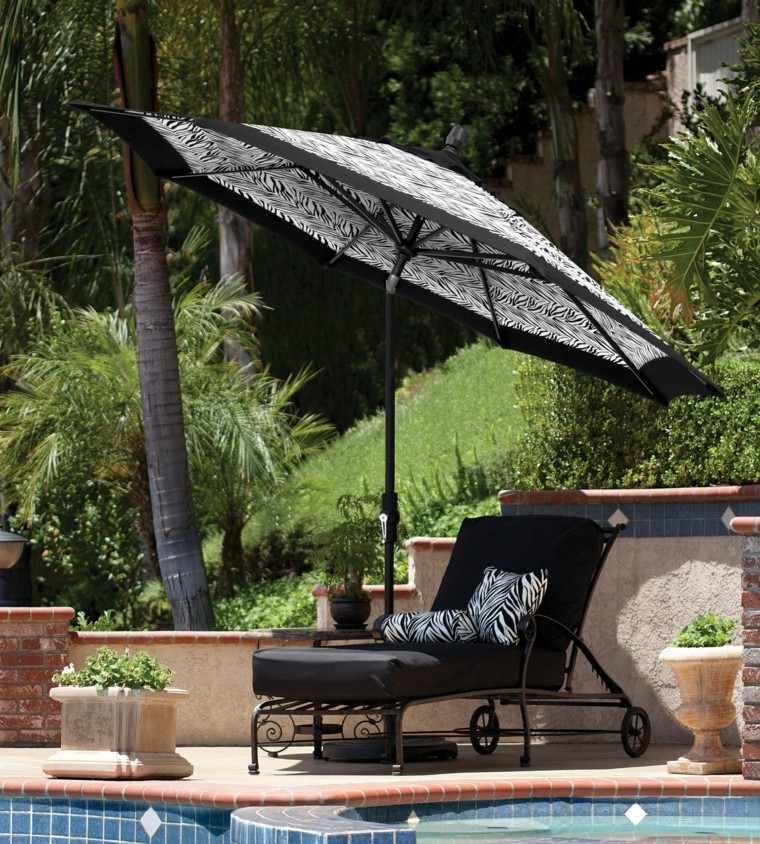 parasoles jardin estampado zebra moderna