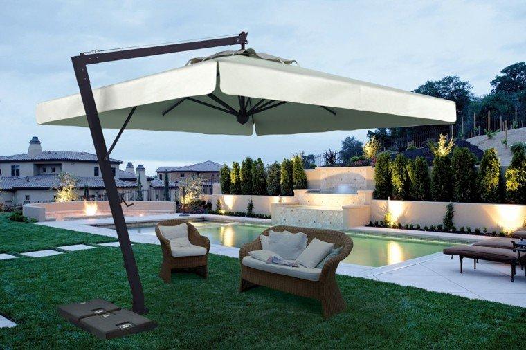 parasoles jardin modernos blancos