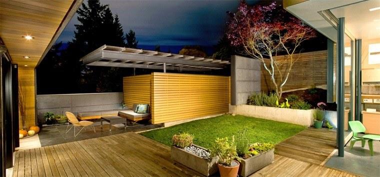 diseño jardin parcela cesped plataforma