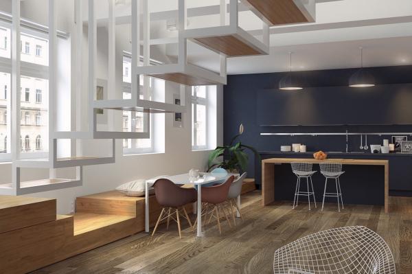 pared añil comedor moderno madera-