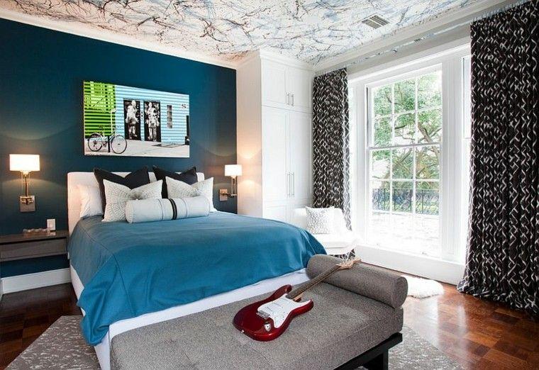 pared azul oscuro habitacion chico techo creativo moderna