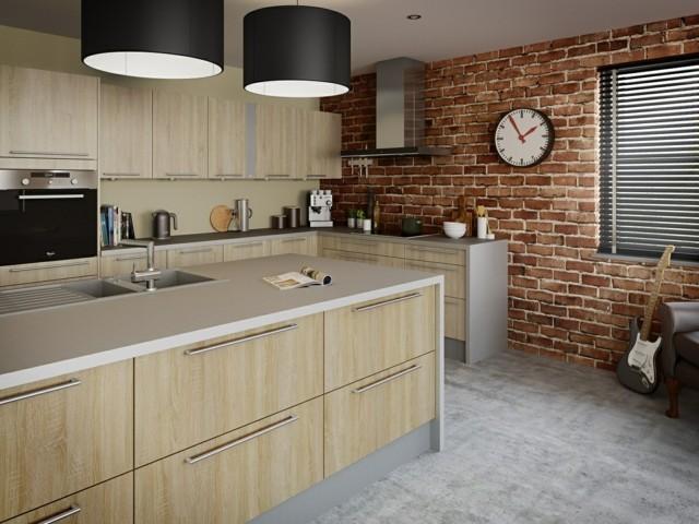 pared moderna baldosas ideas cocina muebles isla