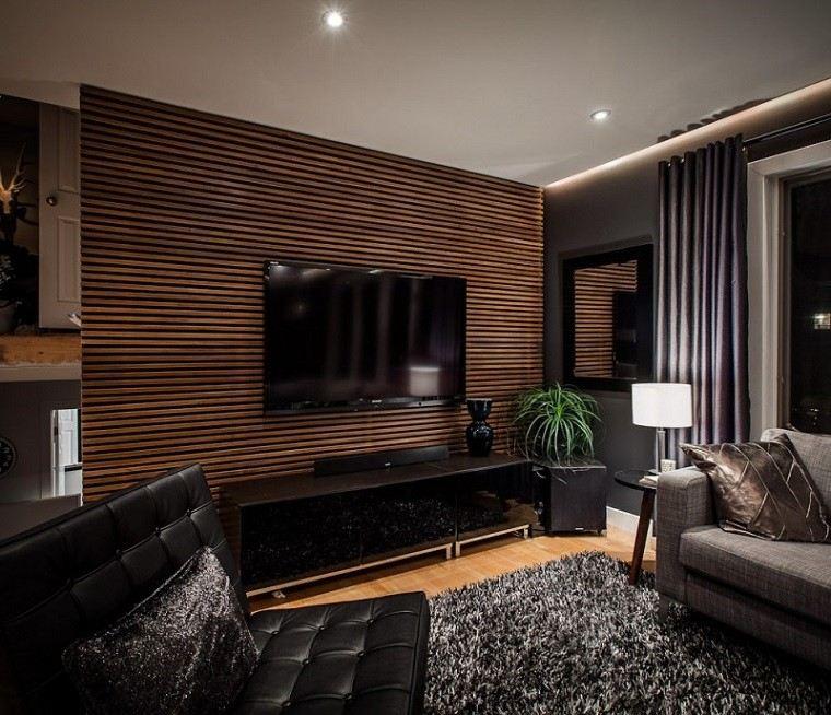 pared division madera salon decoracion