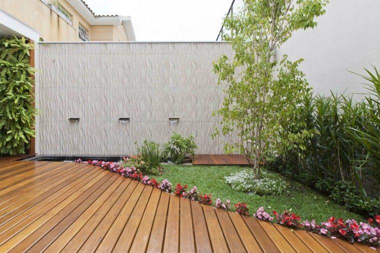 pared hormigon caidas agua estanque suelo madera ideas