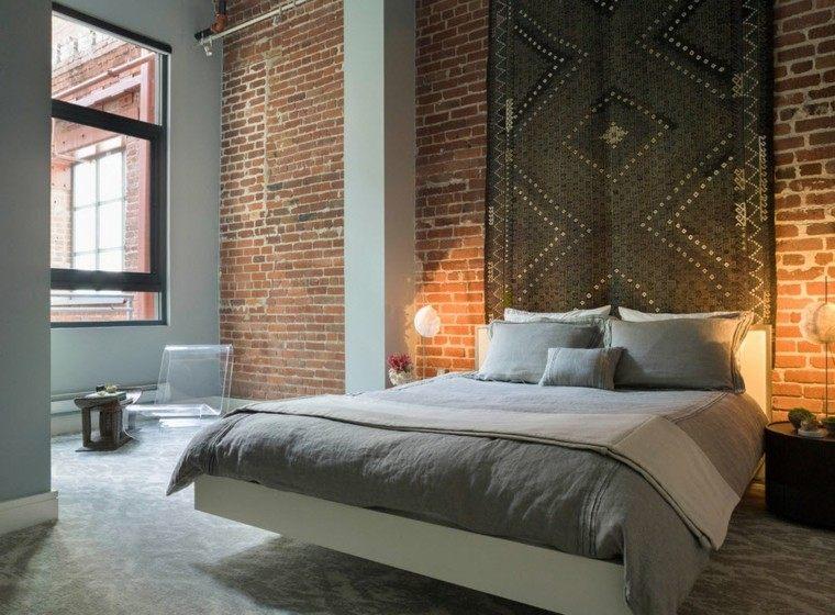 pared ladrillos cuarto cama moderna