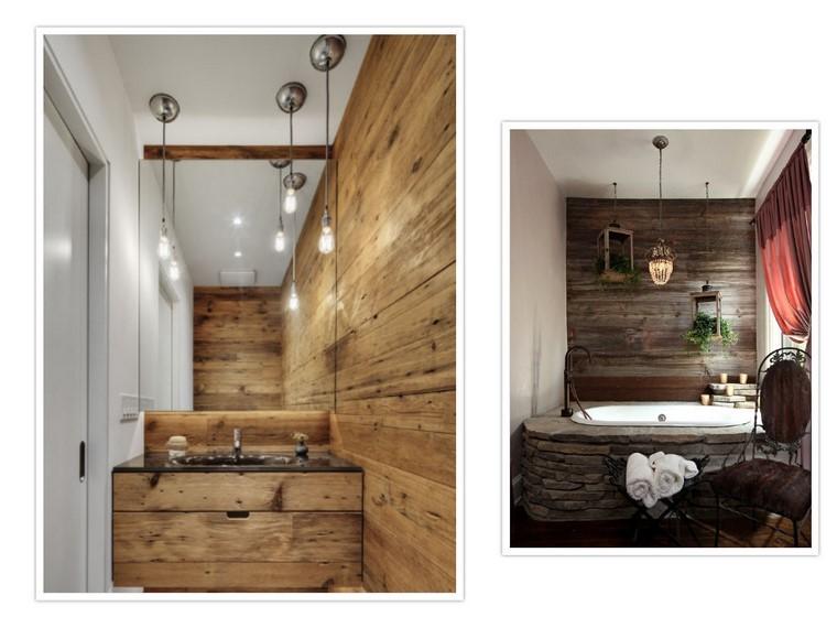 paredes baños diseño lampara rusticos