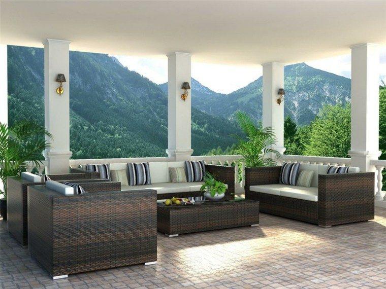 patio balcon cojines rayas montañas