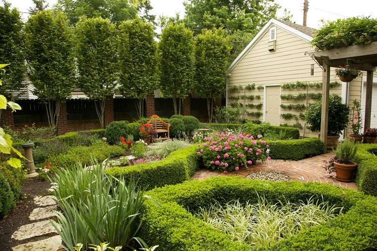 patio casa setos verdes plantas