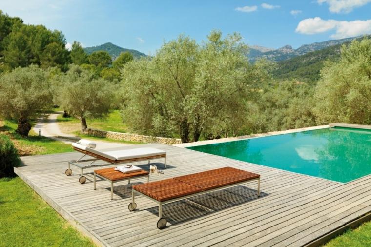 patio madera cojines ajustable piscina teca