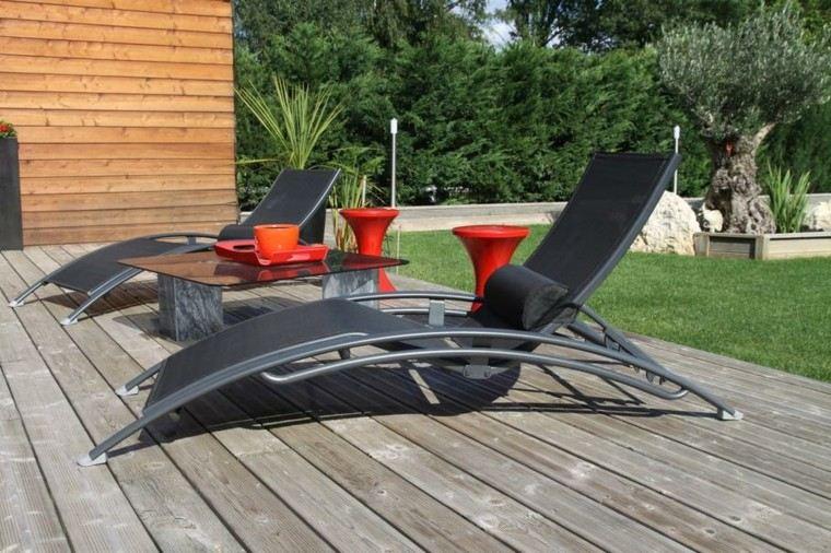 patio madera cojines ajustable accesorios