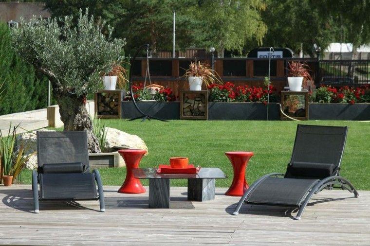 patio mesa plantas terraza cesped accesorios