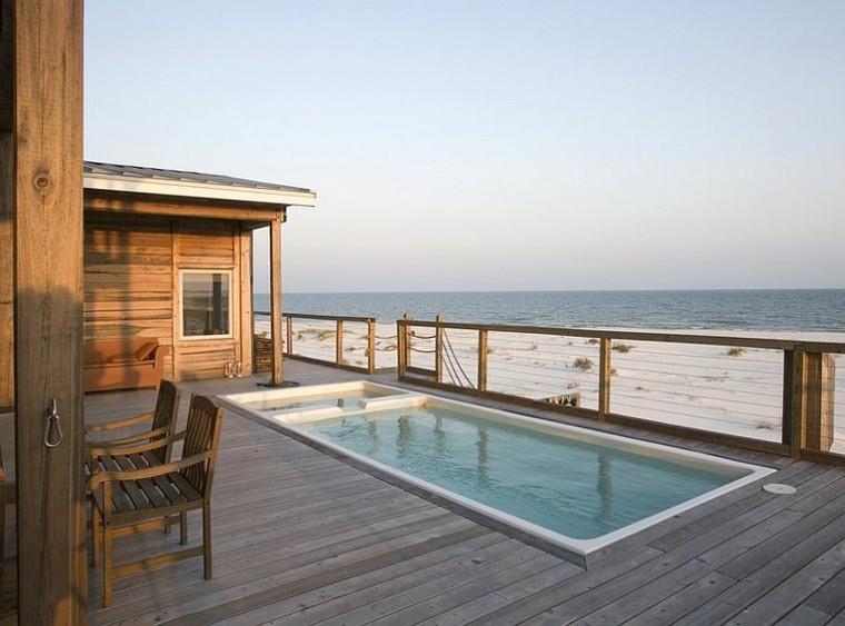 patio minimalista terraza madera playa