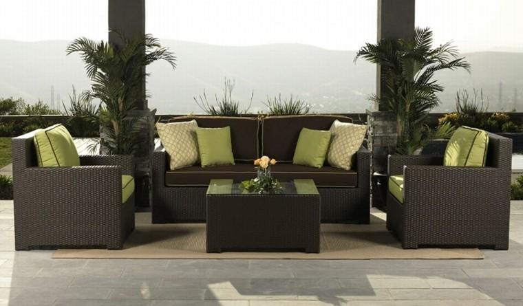 patio moderno ratan terraza plantas