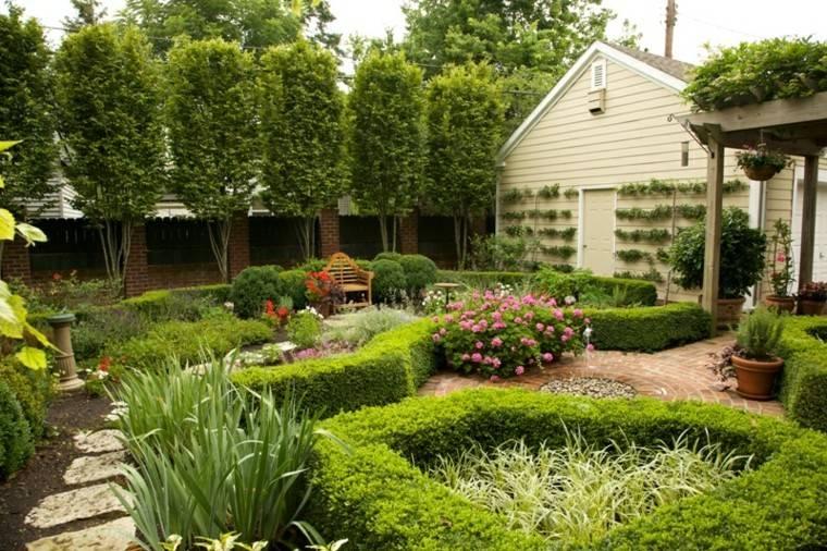 patio trasero plantas casa sendero