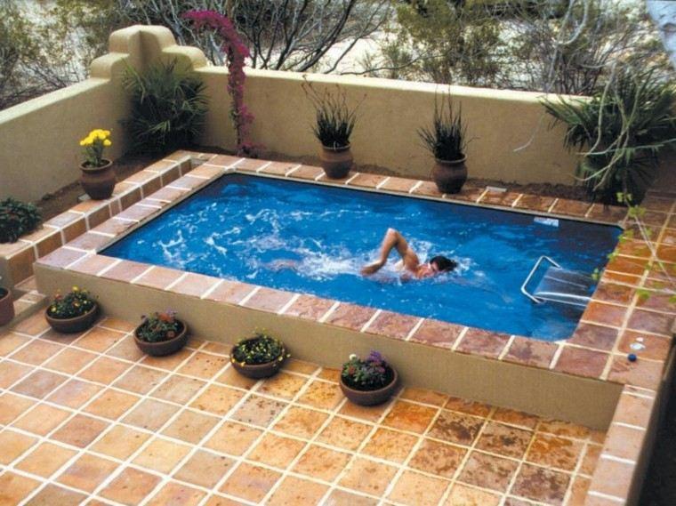 pequeña piscina patio terraza macetas