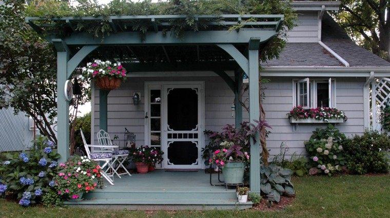 pergola entrada casa plantas trepadoras ventana maceta