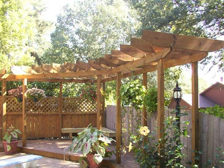 pérgola esquina jardín madera teca