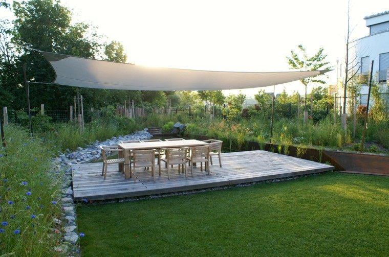 pergola grande blanca cuida sol jardin moderno ideas